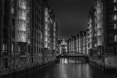 An evening in Hamburg... (2) (Piotr Stachowiak) Tags: 2017 architecture germany hamburg le land light scapes speicherstadt what cityscape longexposure night nightlight nightscape reflection storagehouse street water nisi piotrstachowiak lee filter building blackwhite bw