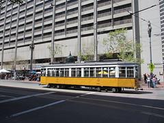 Historic tram car 1811 departing the Embarcadero, San Francisco, California (Paul McClure DC) Tags: sanfrancisco california apr2013 embarcadero railroad railway historic architecture