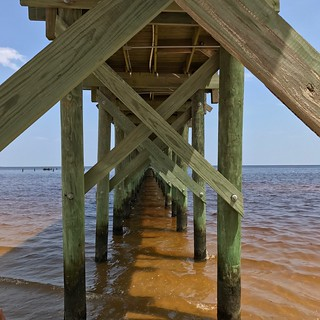 Pier Underneath Water Sea Architecture Beach Built Structure Wood - Material Bridge - Man Made Structure Architectural Column Connection Below Outdoors Strength Nature Sky Horizon Over Water Day No People Mississippi  Bay St. Louis, MS at St. Stanislaus C