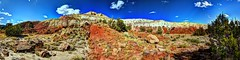 blood red, white, blue mesa (JoelDeluxe) Tags: rio chama riochama nm wildscenic river abiquiu santafenationalforest red beige tan mesa bluff soil plants landscape panorama hdr newmexico joeldeluxe