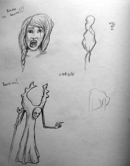 Blue Book Project Sketch Page 32 (ETt_) Tags: sketchs test doodles drawings female character monster
