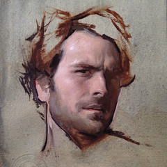 Jordan Sokol — Skeptical Self-Portrait, 2017. Painting: oil on paper, 12 x 9 in. Portrait of the ArtistRealismContemporary Figurative Painting (ArtAppreciated) Tags: fineart painting blogs tumblr artblogs artappreciated artoftheday artofdarkness artofdarknessco artofdarknessblog jordan sokol self portrait artist 2017 art portraiture date2017 2010s contemporary figurative realism psychological attitude male portraits selfportrait american artists