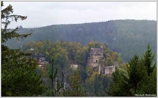 Blick vom Pferdeberg auf Oybin und den Scharfenstein