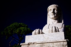 sphinx (khrawlings) Tags: sphinx rome italy statue sculpture piazzadelpopolo marble egyptian trees pines