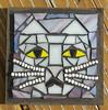 bitty kitty grouted (toadranchlady) Tags: mosaicart mixedmediamosaic temperedglass stainedglass foundobjects