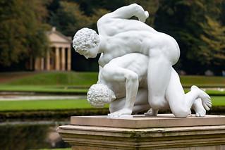 Pankratiasts statue - Studley Royal water garden.