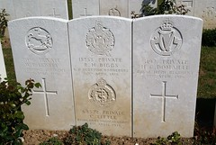 W.E. Kewley, Liverpool Regiment; R.B. Biggs, Scottish Borders; C. Little, R.AM.C. & H.C. Domaille, Royal Irish Regiment, War Grave, 1916, Le Treport (PaulHP) Tags: cwgc world war graves headstones france private we william edgar kewley service number 2096 16th 1916 april a coy company 1st 9th bn battalion kings liverpool regt regiment bertha annie rh biggs robert henry 18255 7th kosb own scottish borderers charles little ramc royal army 68572 medical 24th corps 95th field c amb ambulance cathrian dublin ireland harold h domaille 3197 22nd 6th rir irish rilfes rachel guernsey mauger albert 30 stoneybatter