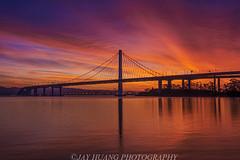 Sunrise At Bay Bridge (Jaykhuang) Tags: sunrise sanfrancisco oakland baybridge eastbay eastspan burn reflections jayhuangphotography thanksgiving