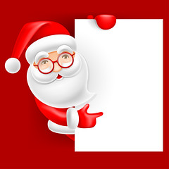 Santa Claus and blank sheet (everythingisfivedollar) Tags: christmas merry vector santa claus cute cartoon comic humor holiday celebration greeting character cheerful fun xmas newyear party card banner poster flyer blank empty signboard sign sheet copyspace sale advertisement ad text template letter winter headline invitation concept creative idea red white background scene illustration christmastree merrychristmas snow