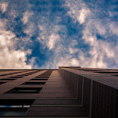Squared Up (Darren LoPrinzi) Tags: canon canon5d 5d miii squareformat square lookingup architectural building city urban eastvillage eastvillagenyc nyc newyorkcity newyork manhattan lowermanhattan downtown sky clouds cloudscape light sunlight brick texture perspective