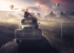 Sightseeing (kris greenwell) Tags: 1948 1948fordf1 airballoons atmosphere beautiful cliffs colorgrading composite d7100 dramatic f1 fields ford greentruck isleofsky krisgreenwell krisgreenwellphotography landscape lightroom mountains nikon photoshop pickup sky sunset travel truck v8