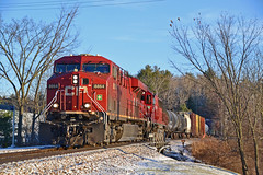 CP 252 and a Little Snow at Westport NY (ERIE1960) Tags: railroad railfan trains locomotive canadianpacific delawareandhudson dh freighttrain newyorkrailroads westportny ge gees44ac cp8864