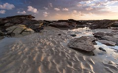 Tracking the Morning (--Welby--) Tags: rock sand ocean coast sunrise light ripples color colour blue pattern cable beach broome western australia kimberly stone fuji xt10 samyang 12mm