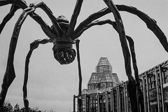 The Spider (Bust it Away Photography) Tags: canonet canon canada analog film hp5 blackandwhite spider monster cityscape winter clouds bustitawayphotography adventure