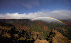 Moonbow Over Waimea Canyon (geekyrocketguy) Tags: waimea canyon kauai hawaii moon moonbow rainbow rain night stars sigma 14 14mm f18 art