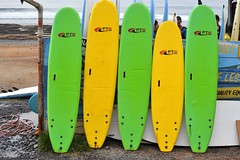lined up (curly_em) Tags: surfer surboards sea beach waves sand canaryislands colours wetsuits green yellow