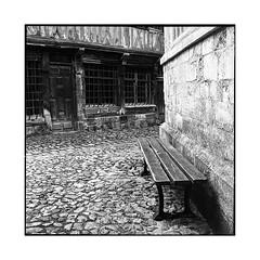 behind the chapel • honfleur, normandy • 2016 (lem's) Tags: chapel bench paved street wooden house maison colombage pavée rue banc chapelle honfleur normandie normandy rolleiflex planar