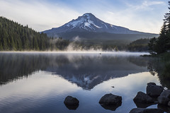 Mount Hood and Trillium Lake, early morning (explored) (birgitmischewski) Tags: trilliumlake mounthood earlymorning reflection fog oregon
