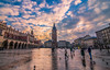 Sunset in old town square (Vagelis Pikoulas) Tags: square sun sunset krakow poland travel sky clouds cloudy cloud colors canon 6d tokina 1628mm view november autumn 2017 people reflection reflections birds