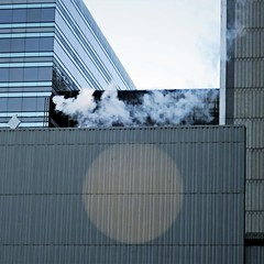 blue winter morning (jim_ATL) Tags: skyline blue glass facade building winter smoke exhaust light circle abstract atlanta