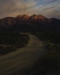 Four Peaks (Trevor McGoldrick) Tags: four peaks arizona mountain mountains landscape landscapes vertical road dirt old abandoned wilderness desert winter sunset moody sky alpenglow southewest az exploreaz explorearizona canon canonusa canonphotographers