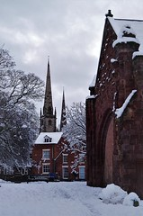 Old St Chads & Spires (Sundornvic) Tags: snow winter cold shrewsbury church churches spire towers stone built pentaxart