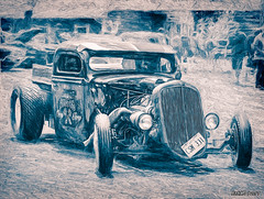 1946 Ford pickup rat rod (kenmojr) Tags: 2017 antique atlanticnationals auto car carshow centennialpark classic kenmorris kenmo moncton newbrunswick nikkor nikon show vehicle vintage 1946 ford pickup truck ratrod hotrod illustration digital sketch automobile