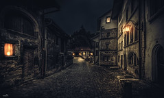 The road to the bridge (VandenBerge Photography (On/off ....but mostly off) Tags: fribourgneuveville fribourg oldtown medieval night lights bridge pontdeberne mysterious atmosphere switzerland cantondefribourg europe canon