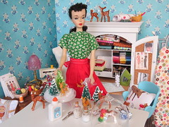 6. Working on a Christmas Display (Foxy Belle) Tags: dollhouse miniature doll craft room christmas project bottlebrush tree make diy 16 diorama playscale barbie vintage ponytail 3 apron red arts