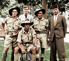 Early October 1942 - Australian Army 2/17 Infantry Battalion troops & a British RAF NCO with a local Egyptian resident, during a 5 day leave pass in Alexandria, Egypt (colorized version) (aussiejeff) Tags: memorabilia military royalairforce raf british uniform hat slouchhat aussie desertrats ratsoftobruk tarboosh alexandria middleeast ww2 aleccrisdale wwii war army australia soldier arab jeffc aussiejeff people paperpeople colorized history historic vintage