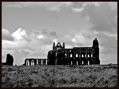 Whitby Abbey Monochrome (Ronald Hackston) Tags: whtby abbey whitbygothweekend whitbyabbey ruin ruined church clifftop bramstoker yorkshire england uk ronniehackston