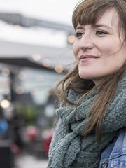 Marlene, Amsterdam 2017: Lights in the distance (mdiepraam (25mln)) Tags: marlene amsterdam 2017 portrait rooftop skylounge hilton pretty brunette girl scarf dof bokeh