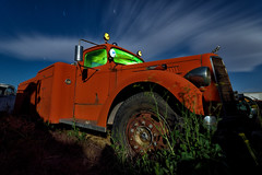 big red. mojave desert, ca. 2011. (eyetwist) Tags: eyetwistkevinballuff eyetwist night mojavedesert longesposure mack fire truck nikon d7000 nikkor capturenx2 1024mmf3545g 1024mm paulsjunkyard fullmoon photography workshop desert arid dark longexposure junkyard moonlight moonlit strobe gel tripod npy nocturne highdesert mojave california derelict rusty pauls moon troypaiva joereifer long exposure angle wideangle wide light painting lightpainting movieprop star trails startrails green engine firetruck apparatus faded fading weeds bulldog polaris grille american west emergency decay vintage wheel tire clouds