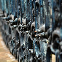 Erbdrostenhof (detail) (Bernhardt Franz) Tags: erbdrostenhof detail schmiedeeisern gitter grid fence gitterzaun wroughtiron blurred sharp scharf unscharf münster colour spitzen metal craft kunsthandwerk art