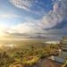 台灣-高雄小崗山日出 (黃昱峰) Tags: 風景 藍天 白雲 雲 太陽 日出 樹 水 湖 建築 倒影 台灣