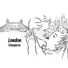 London Skyline Panorama with Honeymoon Couple in Foreground, (Hebstreits) Tags: architecture background bridge britain british building capital card city cityscape composition couple cover design drawing drawn england english graphic greeting hand head honeymoon illustration isolated landmark letter london panorama postcard river sightseeing sketch skyline thames title tower travel typo uk urban vector vintage