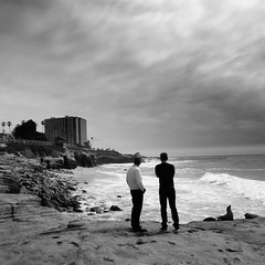 not much to say (vfrgk) Tags: people staring view seaview waves cloudy beach cloudysky blackandwhite monochrome bnw bw seascape seaside ocean seashore relaxing wild stormy spray coast water sound duo seals