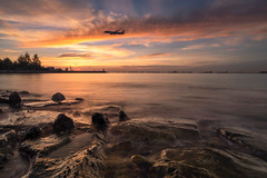 Morning Fly (My Pixel Magic) Tags: sunrise landscape seascape waterscape nature naturecolor burningsky colorfulclouds multicolorsky flight aeroplane plane slowshutter outdoor parthaphotography