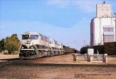 (SEE & HEAR)---BN 9562 Dalhart TX 5-13-96 (jackdk) Tags: train railroad railway locomotive emd emdsd70mac emdsd70 sd70 sd70mac sd75m bnsf bn fwd sp southernpacific diamond rockisland crip dalhart dalharttexas grain grainelevator coal coaltrain coaldrag seeandhear seehear