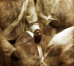 Musique fantôme... (Sabine-Barras) Tags: réunion religion ritual rituel procession tamil tamoule people personnes miusique music hands mains detail détail blur flou reportage monochrome tradition sepia sépia