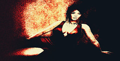 Repose In Red (Carla Putnam) Tags: woman repose reclined red grainy gown digitalarttaiwan