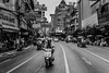 Middle of the Road (DarrenCowley) Tags: bangkok thailand chinatown moped monochrome road