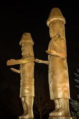 DSC_8165 (Copy) (pandjt) Tags: chilliwack bc britishcolumbia stólō stolo yakweakwioose firstnation yakweakwioosefirstnation terryhorne chiefterryhorne welcomefigures welcome sculpture carving publicart nightphotography longexposure lightpainting