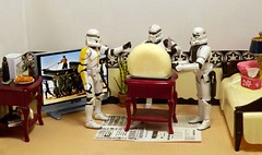 Let's Cut The Cheese on the Death Star (ChicaD58) Tags: dscf0799b starwarsactionfigure actionfigure stormtrooper clonetrooper stormtrooperbruce stb tk1110 tk432 cheese knife endtable newspaper bed tissue pillow lamp tv plant book mug chickenfingers cola coffeemaker comem commemorativedarthbottleofscotch cutthecheese