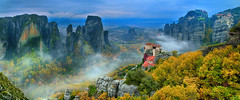 Autumn rapsody at Meteora (Dimitil) Tags: meteora kalambaka kastraki trikala thessaly greece hellas unesco uwh world heritage monuments horthodoxy orthodox nature canyons rocks clouds fog mist radition tradition monachism stone architecture monumentary cloisters monastery sky paysage pierre montagne ciel