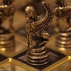 Greek miniature chess set (louisejames1967) Tags: chess gold black god monday metal macro board brass piece game