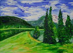 Landscape (BKHagar *Kim*) Tags: bkhagar art artwork painting artday acrylic landscape trees pond mountains