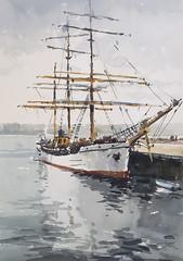 Tall Ship Picton Castle, watercolour 56 x 38 cm (toni belobrajdic) Tags: tallship watercolour