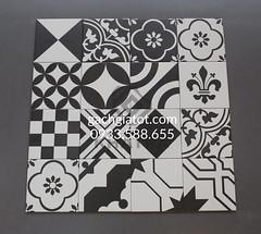 Bộ gạch bông Porcelain trắng đen (20x20cm)