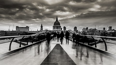 Winter in London (Nathan J Hammonds) Tags: monochrome blackwhite stpauls cathedral london city millennium bridge people winter clouds moody nikon d750 contrast nd filter 10stop movement